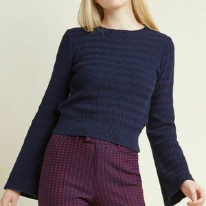 Modcloth XL Navy Blue Snuggly Statement Sweater